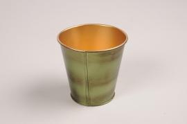 A046JY Green metal planter D6.5cm H6.5cm