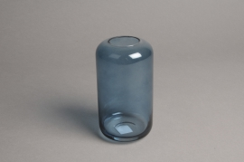 A046P5 Blue glass vase D8cm H15cm