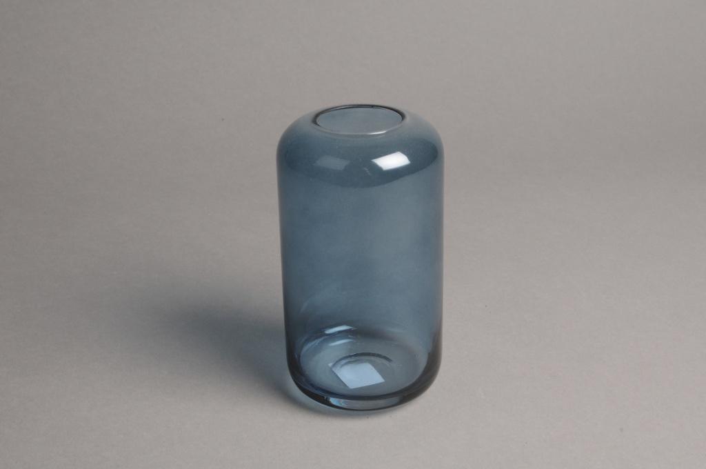 A046P5 Vase en verre bleu D8cm H15cm