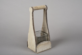 A046R4 Glass vase with wooden holder H23cm