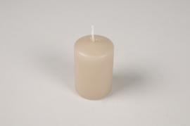 A046RP Boîte de 24 bougies cylindre taupe D4cm H6cm