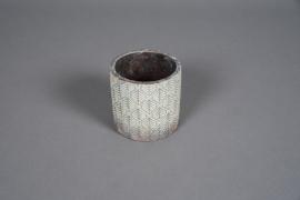 A046U0 Cache-pot en béton bronze patiné D11cm H11cm