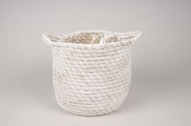 A046UV Cache-pot panier tressé blanc D25cm H20cm