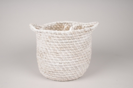 A046UV White weaved baskets planter D25cm H20cm