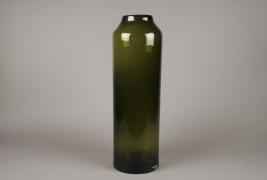 A046W3 Vase cylindre en verre vert D18cm H67cm