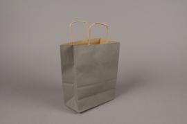 A047AS Paquet de 25 sacs kraft gris 16x8cm H21cm