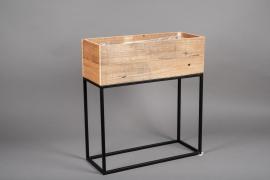 A047AY Jardinière en bois et métal 16cm x 50cm H40.5cm