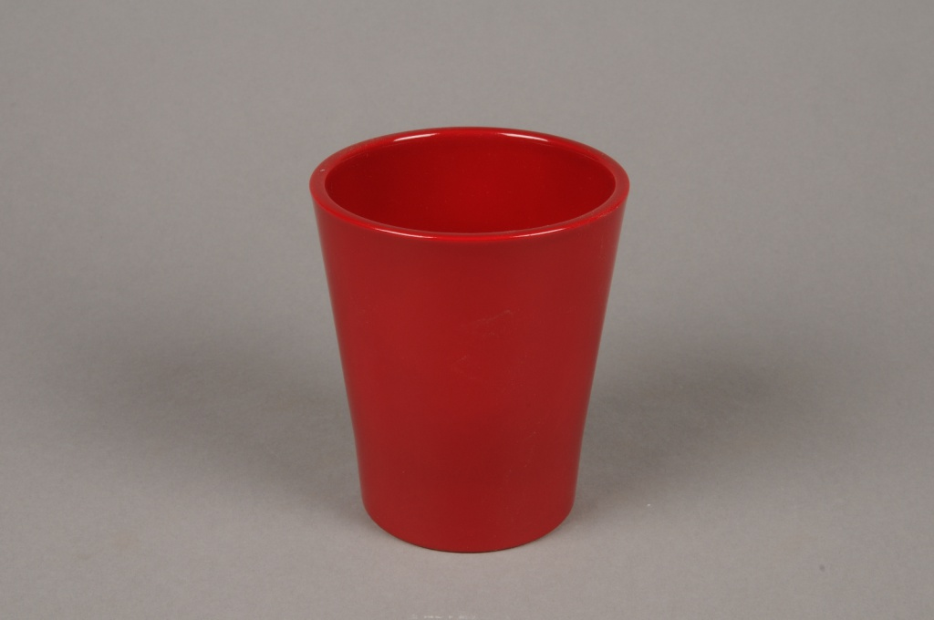 A047DO Red ceramic planter D10cm H12cm