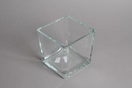 A047I0 Vase en verre cube 14x14cm H14cm