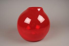 A047IH Vase verre boule déco rouge H28cm