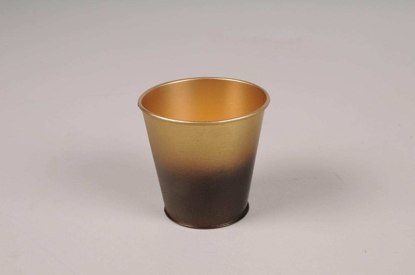 A047JY Cache-pot en métal or noir D6.5cm H6.5cm