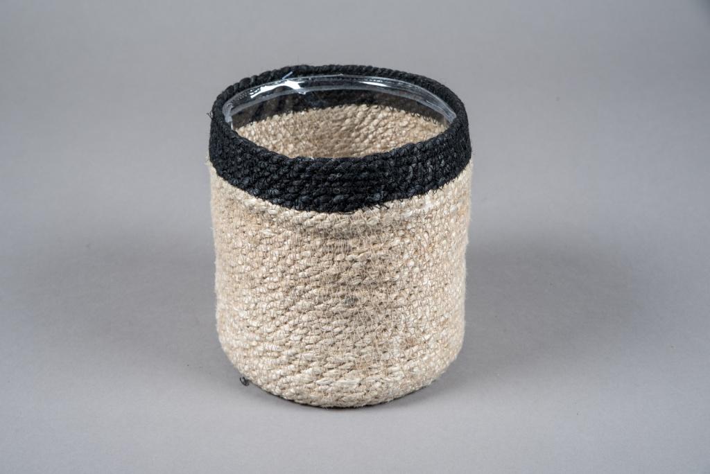 A047M5 Cache-pot en jute naturel D16cm H17cm