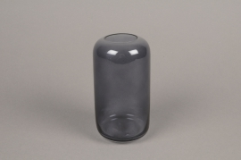 A047P5 Grey glass vase D8cm H15cm
