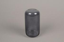 A047P5 Vase en verre gris D8cm H15cm