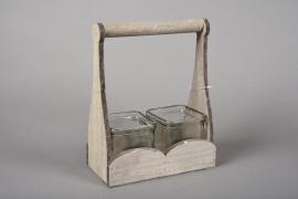A047R4 Set 2 glass vase with wooden holder H23cm