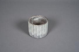 A047U0 Cache-pot en béton bronze patiné D11cm H9cm
