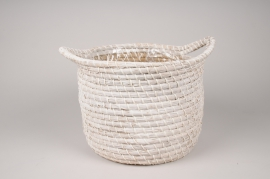 A047UV White weaved baskets planter D31cm H24cm
