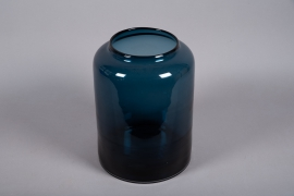 A047W3 Blue glass vase D29.5cm H40cm