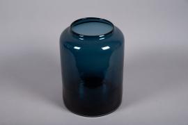 A047W3 Vase en verre bleu D29.5cm H40cm
