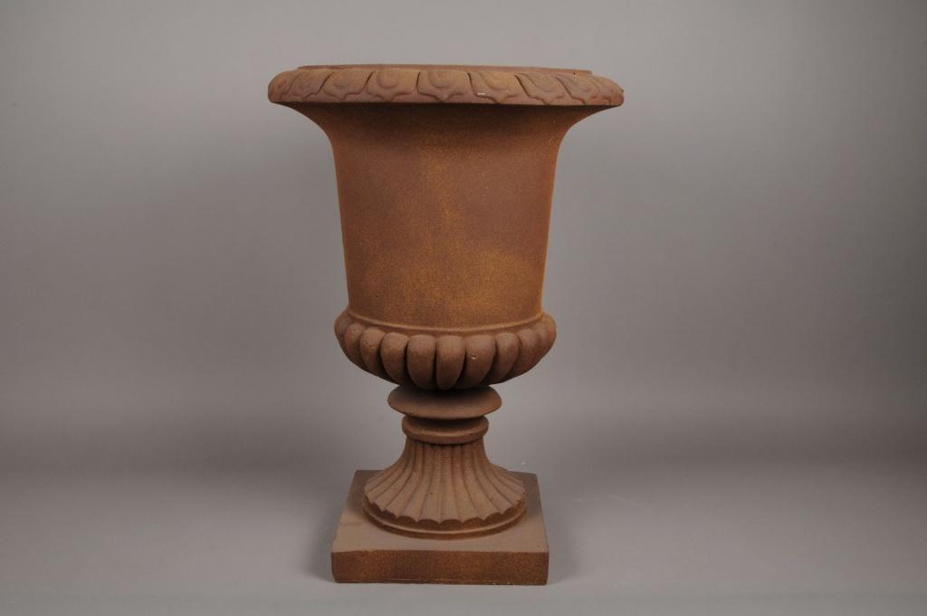 A047XY Vase Médicis en fibre rouillé D48cm H68cm
