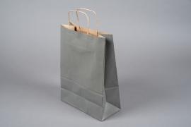 A048AS Paquet de 25 sacs kraft gris 26cm x 12cm H36cm