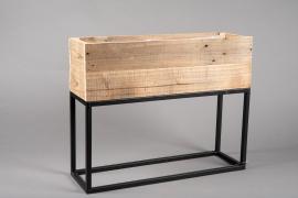 A048AY Jardinière en bois et métal 55cm x 21cm H60cm