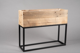 A048AY Wooden and metal planter 55cm x 21cm H60cm
