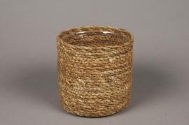A048DQ Cache-pot en fibres naturelles D15cm H14cm