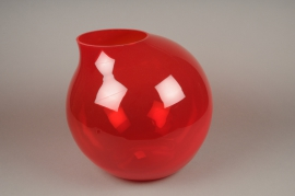 A048IH Vase verre boule déco rouge H37cm