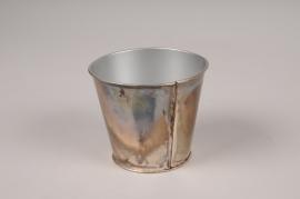 A048JY Cache-pot en métal oxydé D9cm H7.5cm