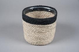 A048M5 Cache-pot en jute naturel D18cm H18cm