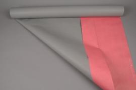 A048QX Rouleau de papier kraft gris / corail 0,8x50m