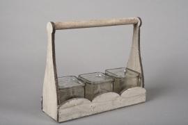 A048R4 Set 3 cubes en verre avec support bois H23cm