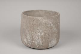 A048U0 Cache-pot en béton gris D20cm H17cm