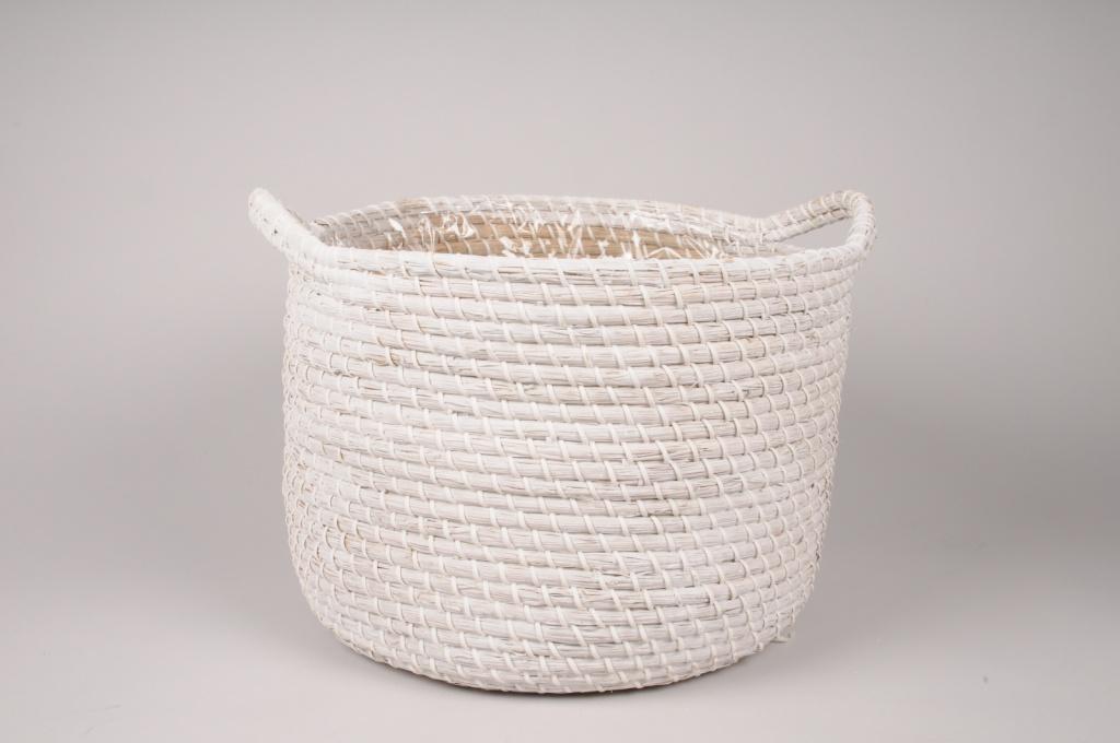 A048UV Cache-pot panier tressé blanc D37cm H30cm