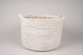 A048UV White weaved baskets planter D37cm H30cm