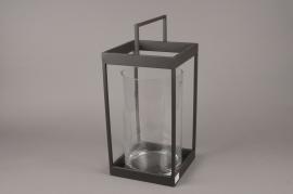 A048ZV Black metal lantern 23cm x 23cm H49.5cm