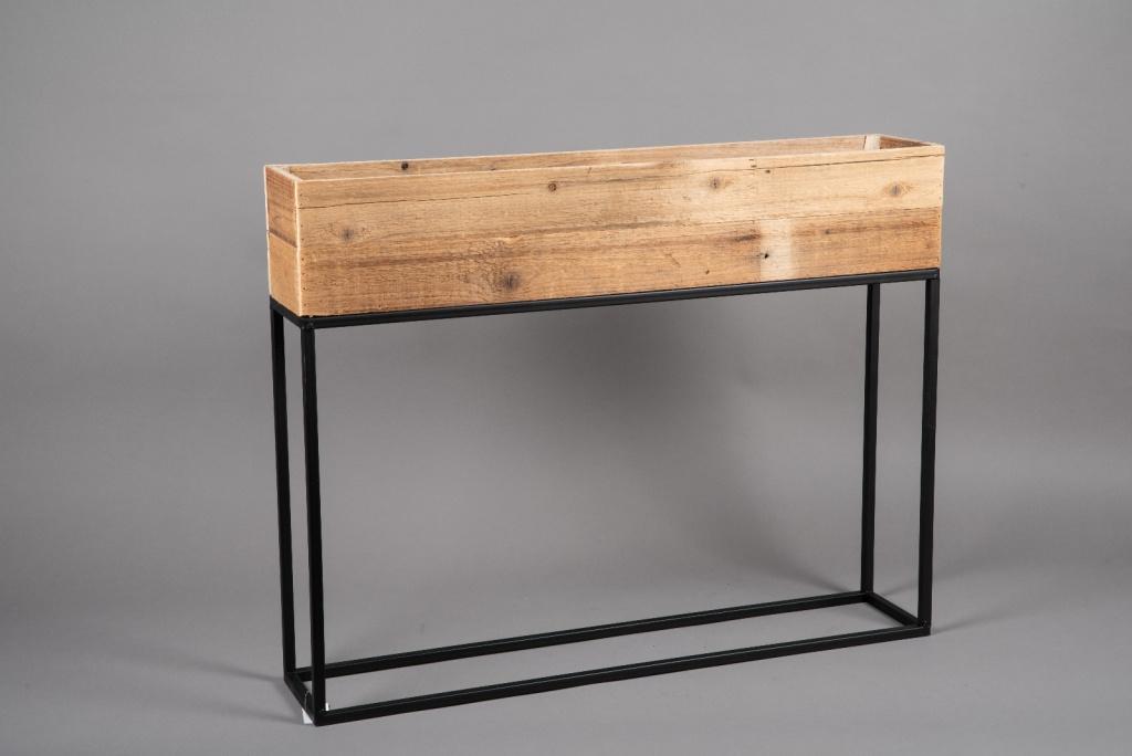 A049AY Jardinière en bois et métal 80cm x 15cm H62cm