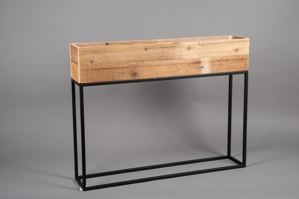 A049AY Wooden and metal planter 80cm x 15cm H62cm