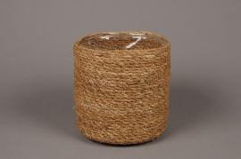 A049DQ Cache-pot en fibres naturelles D16cm H16cm