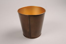 A049JY Cache-pot en métal cuivre D9cm H7.5cm