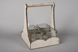 A049R4 Set 4 cubes en verre avec support bois H23cm