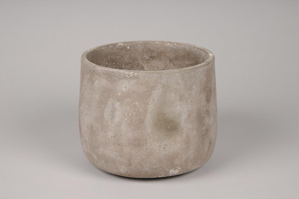 A049U0 Cache-pot en béton gris D18cm H14cm