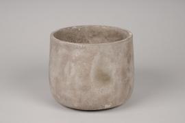 A049U0 Grey concrete planter D18cm H14cm