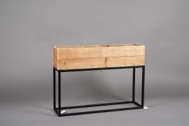 A050AY Jardinière en bois et métal 60cm x 16cm H43cm