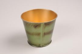A050JY Cache-pot en métal vert D9cm H7.5cm