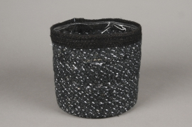 A050M5 Black jute planter D20cm H20cm