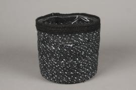 A050M5 Cache-pot en jute noir D20cm H20cm