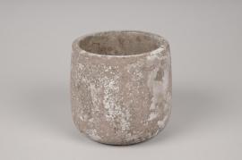 A050U0 Cache-pot en béton gris D11cm H11cm