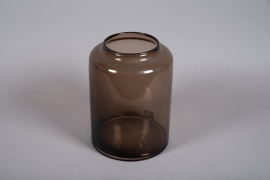 A050W3 Vase en verre marron D23.5cm H32cm